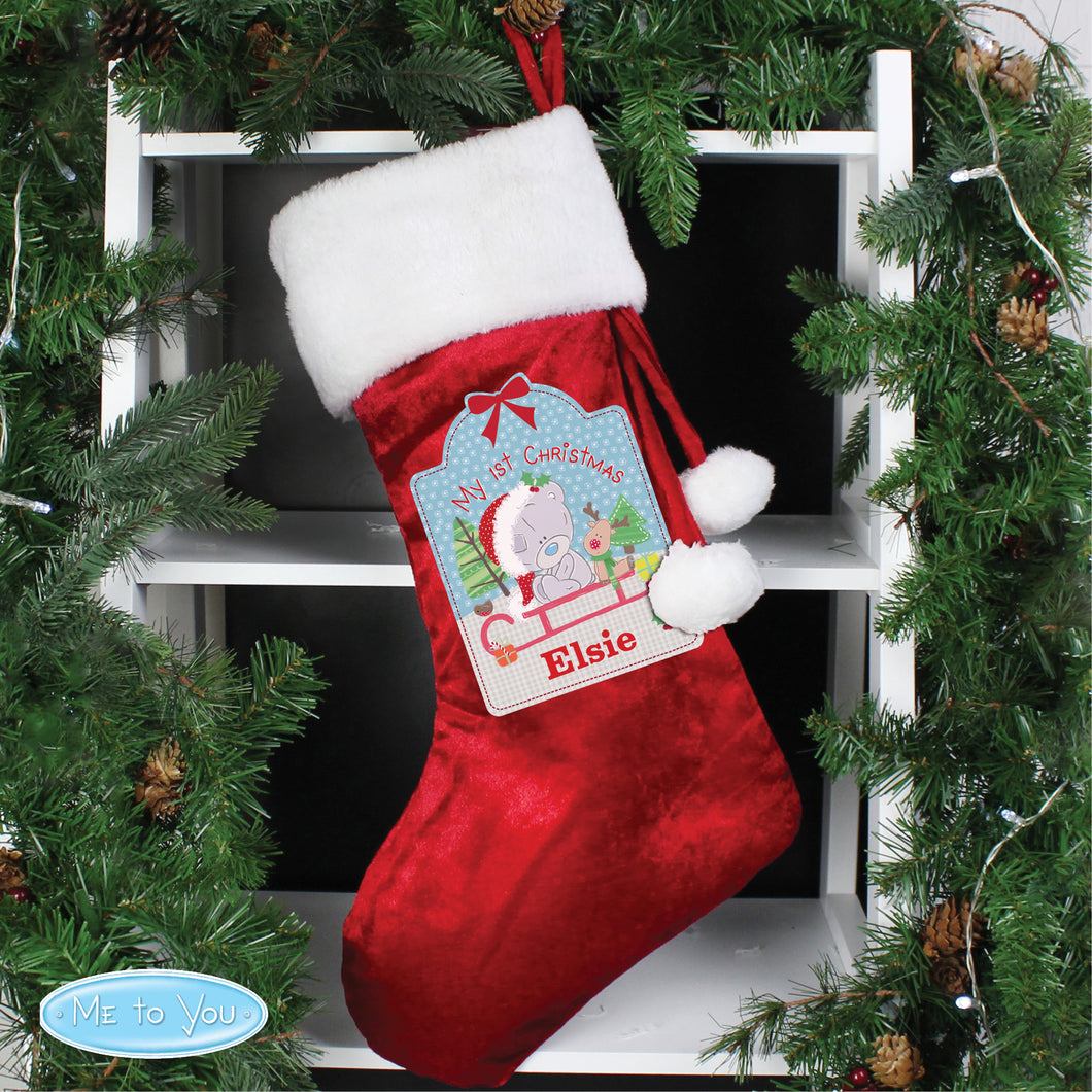 Personalised Tiny Tatty Teddy My 1st Christmas Luxury Red Stocking