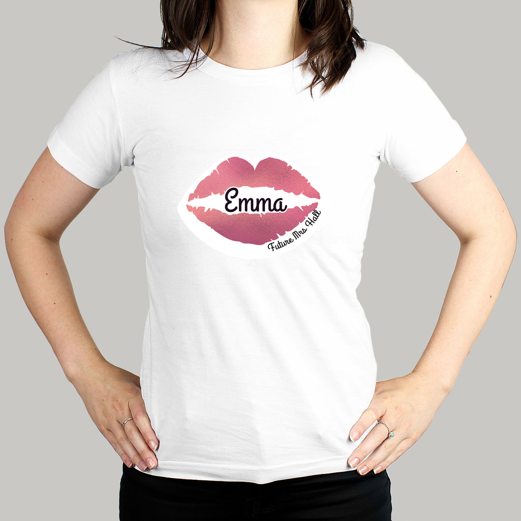 Personalised Rose Gold Lips Hen Party T-Shirt - White XL