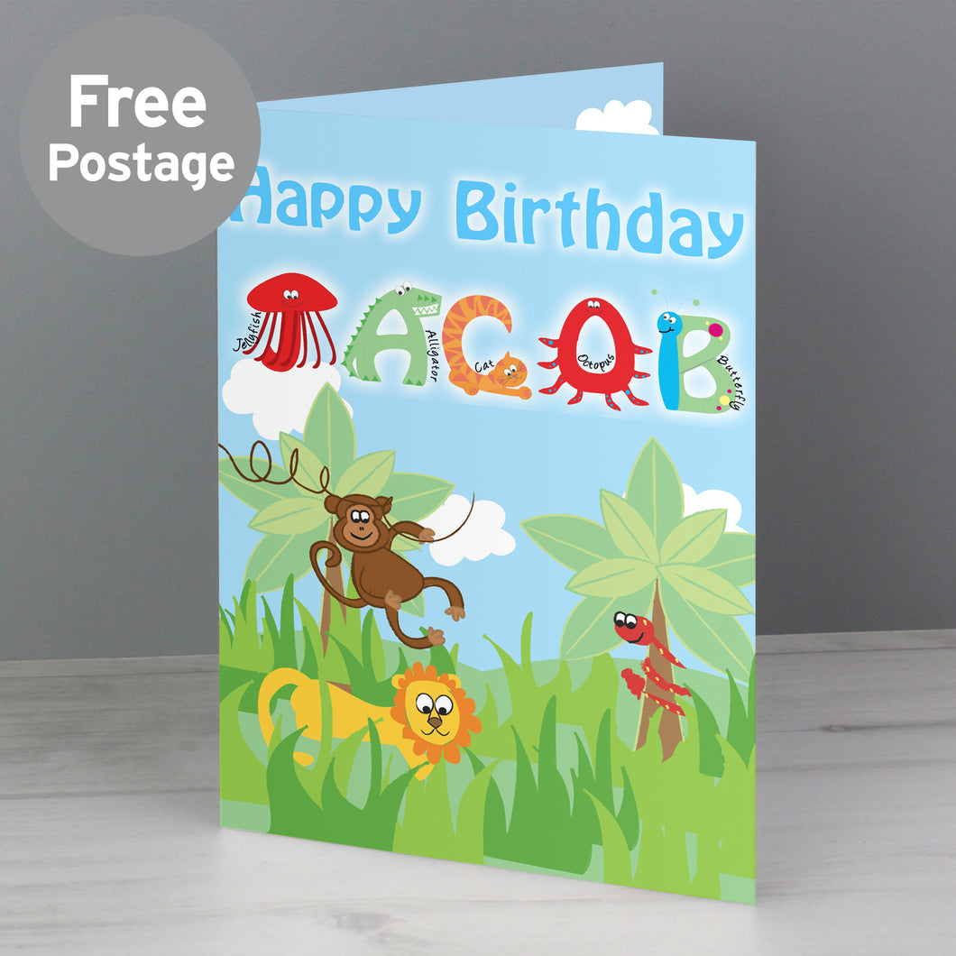 Personalised Blue Animal Alphabet Card