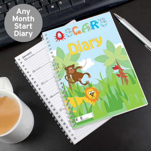 Personalised Blue Animal Alphabet - A5 Diary