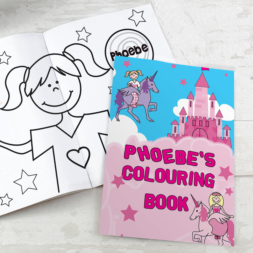 Personalised Princess & Unicorn Colouring Book
