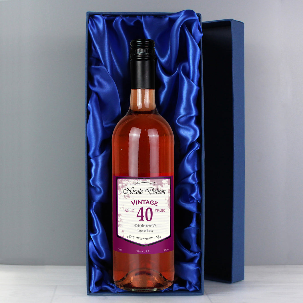 Personalised Rose Wine Vintage Age Label with Gift Box
