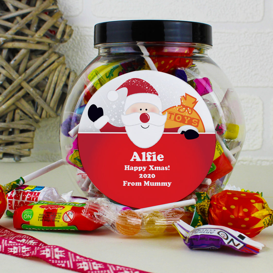 Personalised Santa Round Sweet Jar