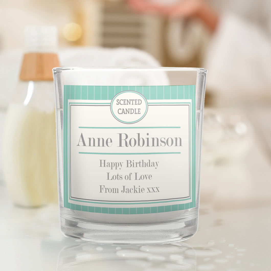 Personalised Art Deco Scented Candle Jar