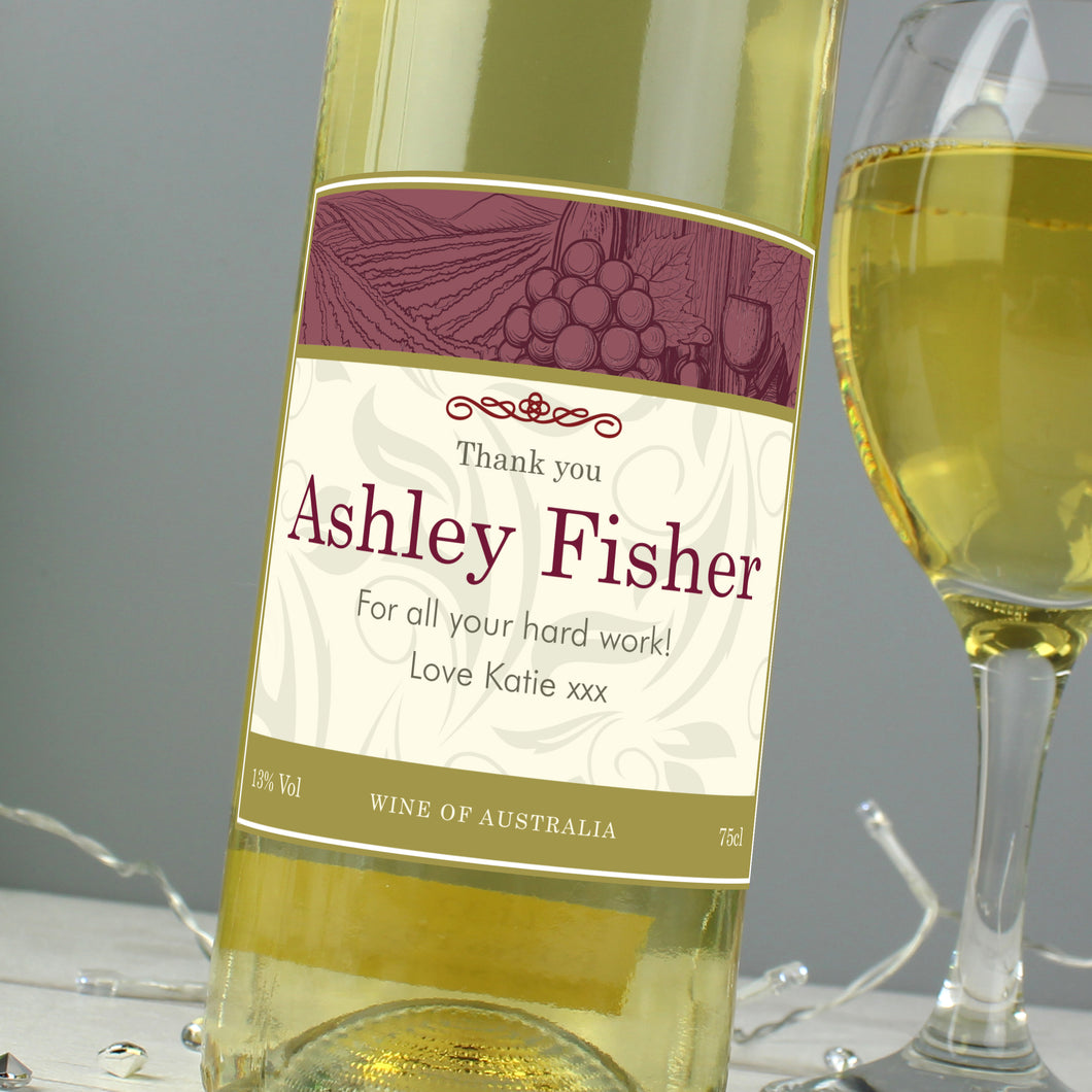 Personalised Traditional White Wine