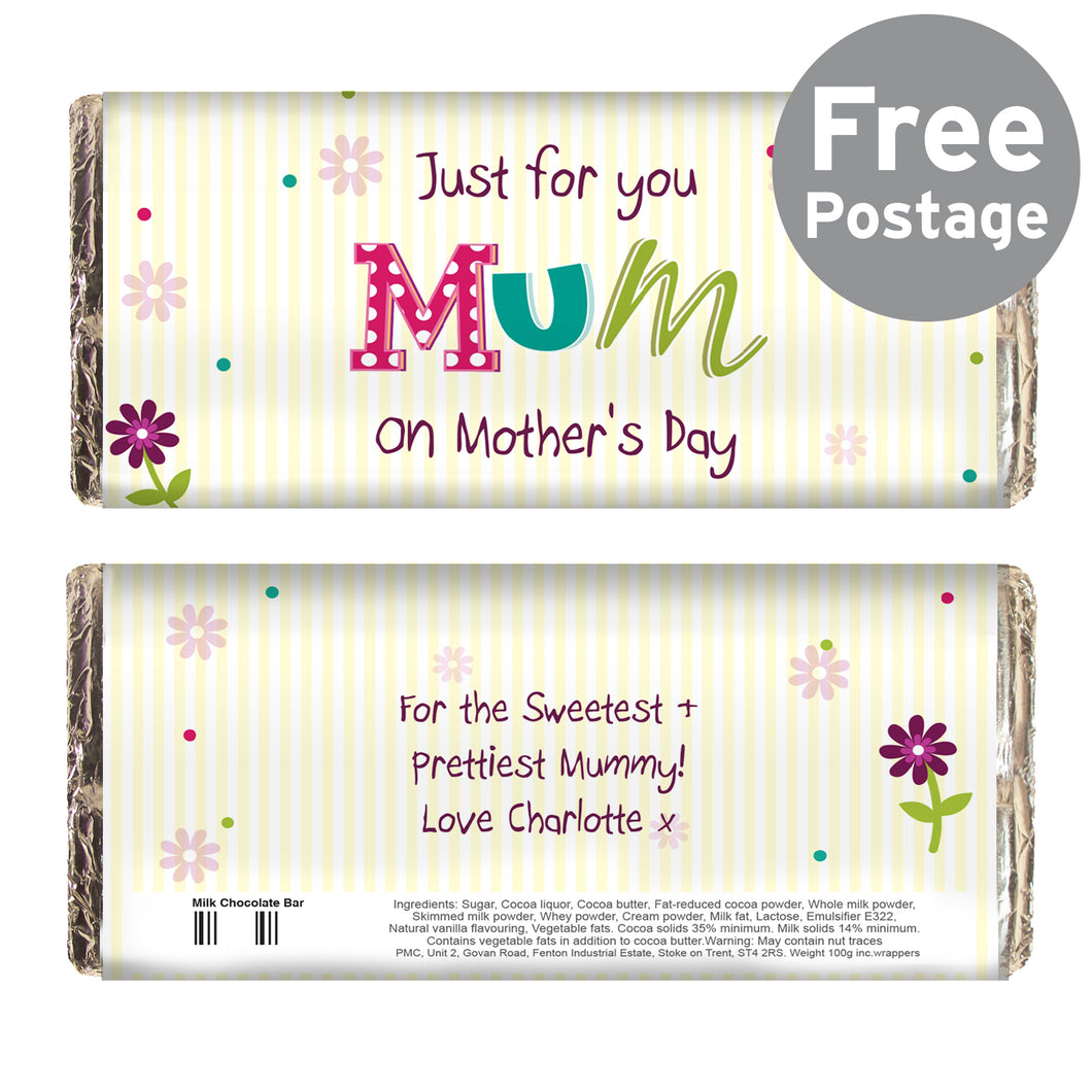 Personalised Patchwork Flowers Milk Chocolate Bar