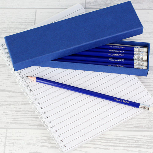 Personalised Box of 12 Blue HB Pencils