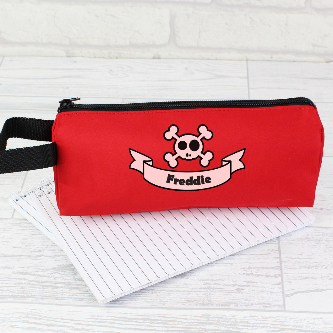 Personalised Red Boys Skull & Cross Bone Pencil Case