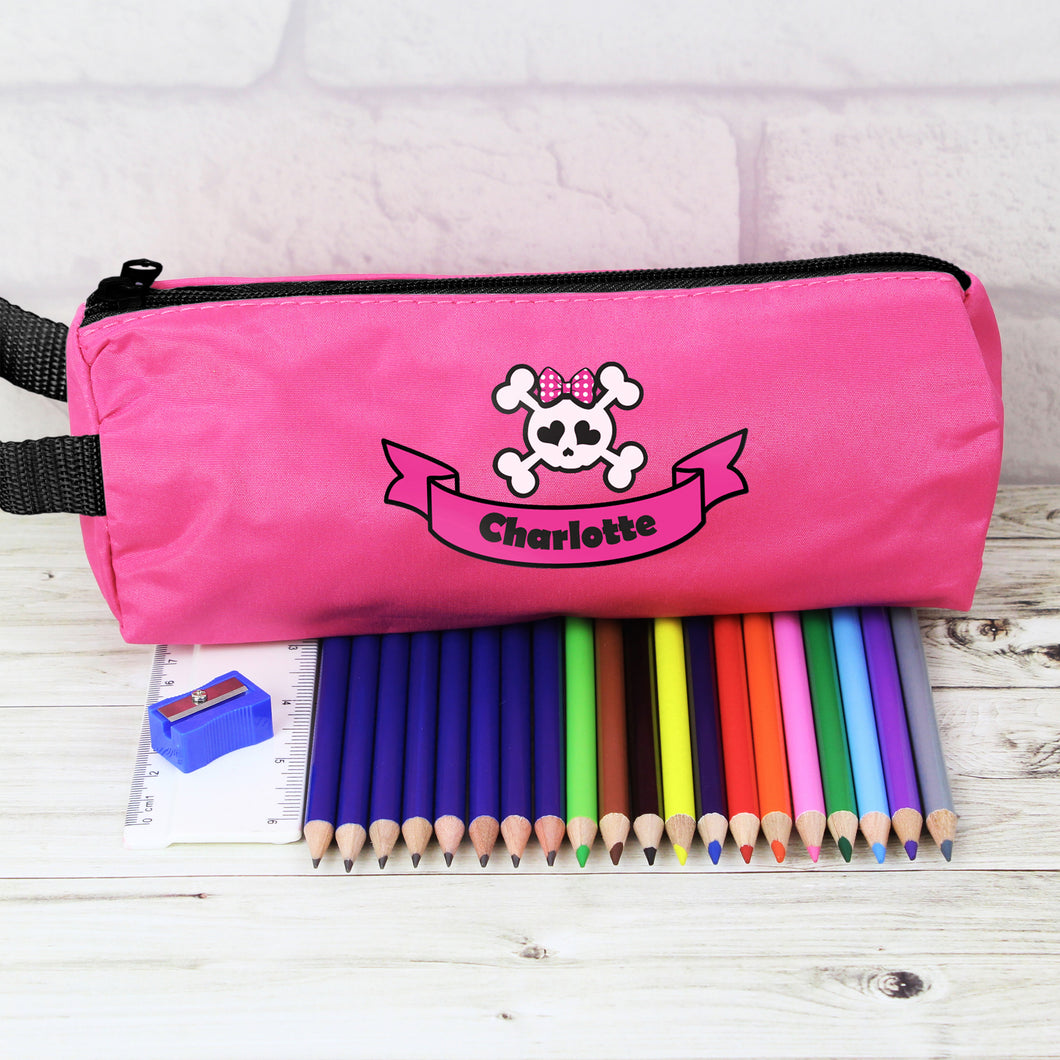 Pink Skull Pencil Case with Personalised Pencils & Crayons