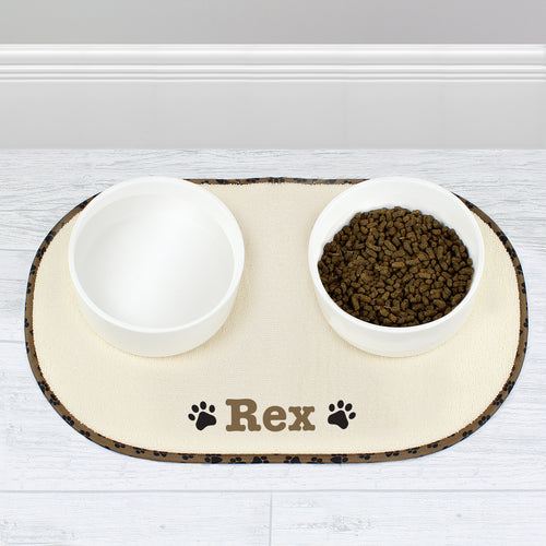 Personalised Brown Paw Print Pet Bowl Placemat
