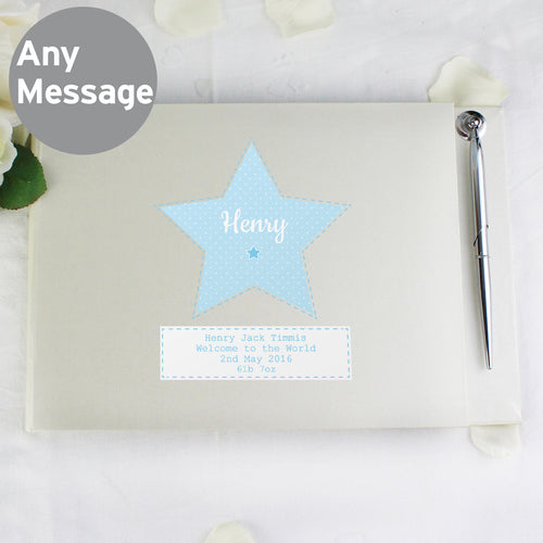 Personalised Stitch & Dot Baby Boy Hardback Guest Book & Pen