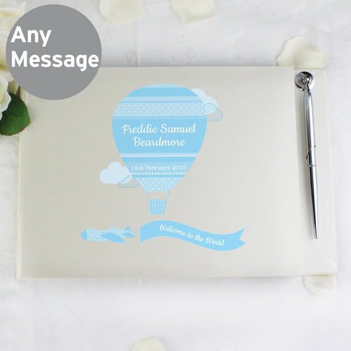 Personalised Up & Away Baby Boy Hardback Guest Book & Pen