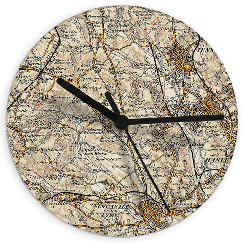 Personalised 1896 - 1904 Revised Glass Map Clock