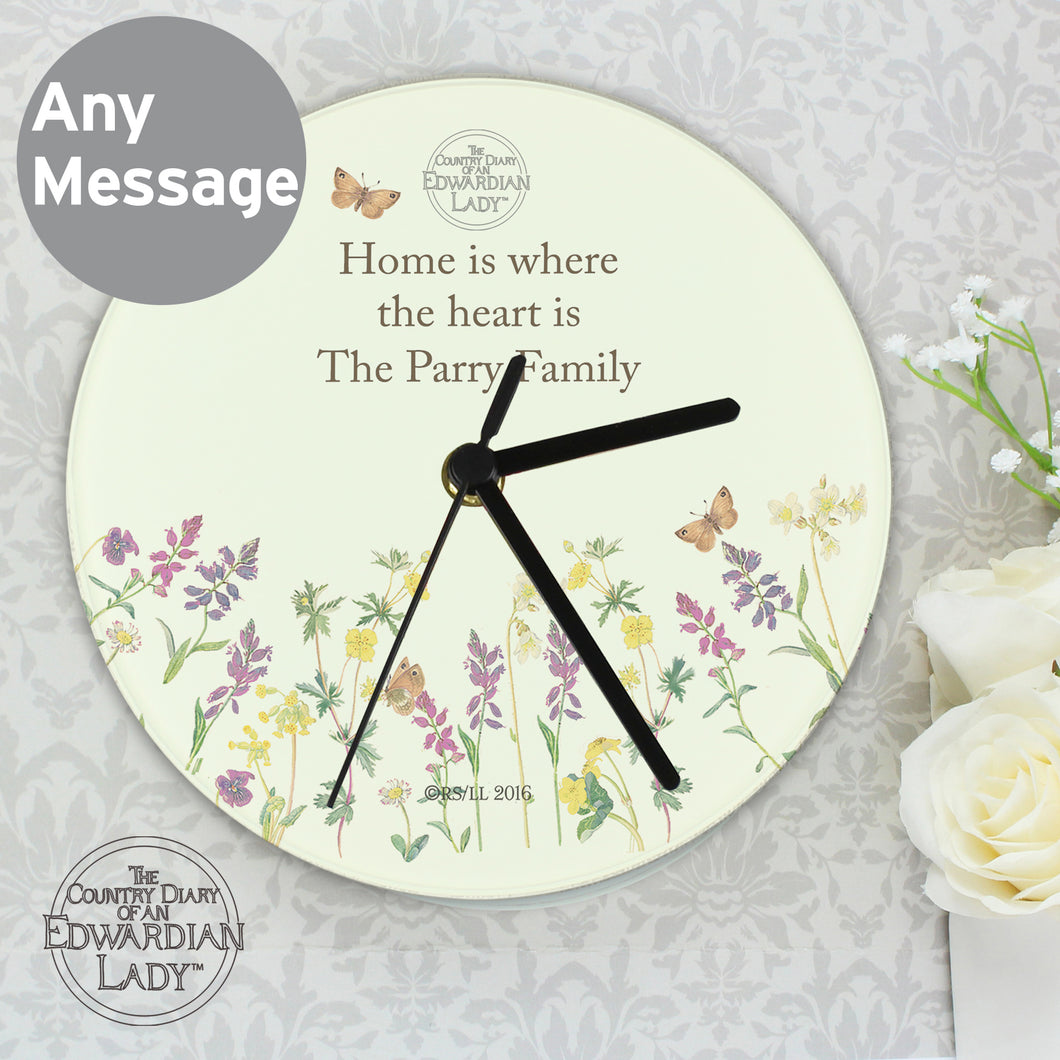 Personalised Country Diary Wild Flowers Glass Clock