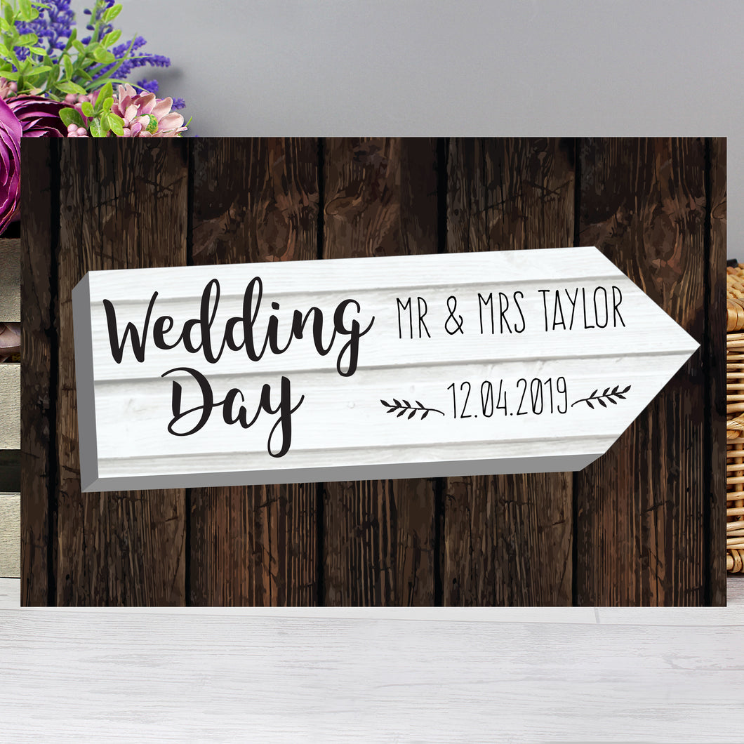 Personalised Wedding Day White Arrow Metal Sign