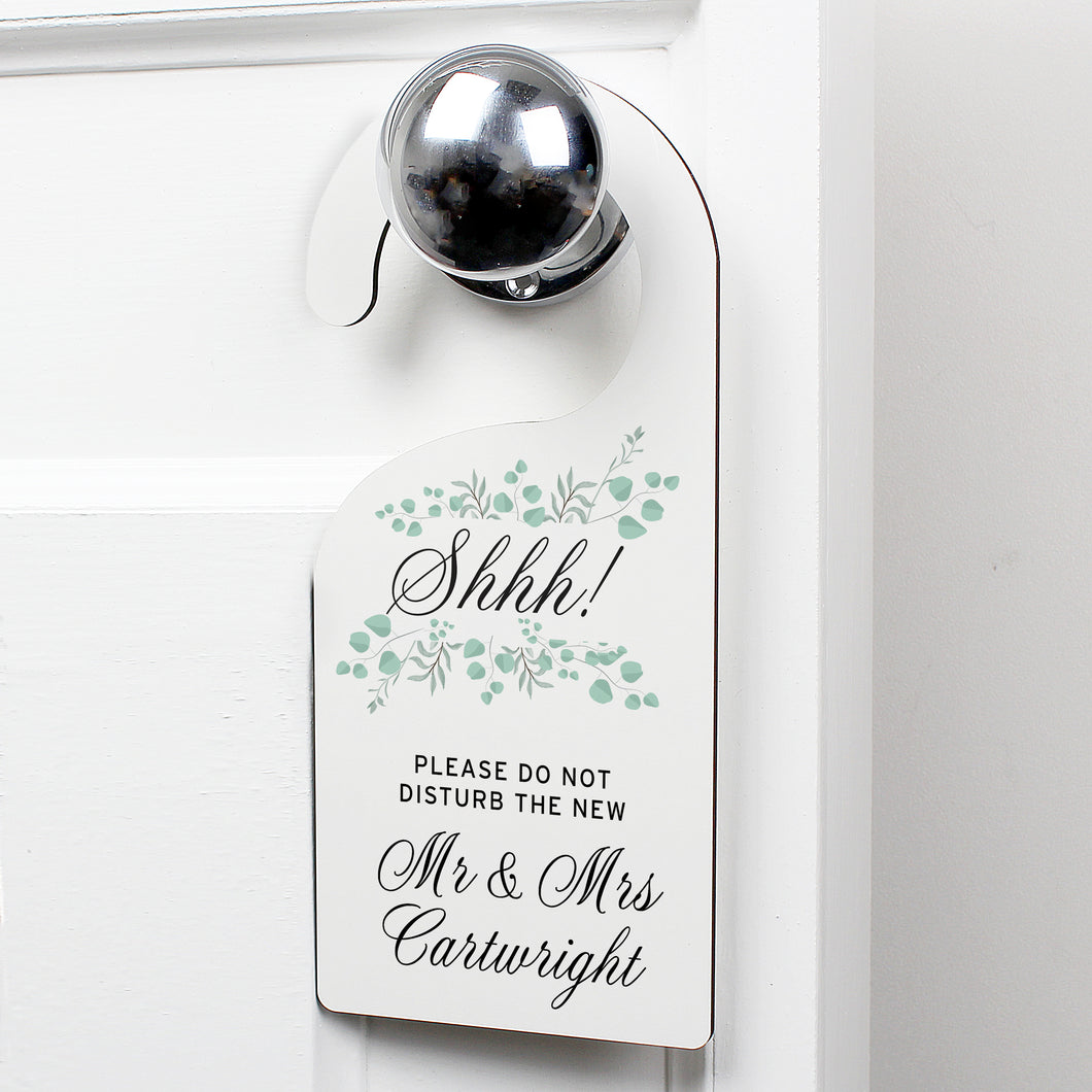 Personalised Floral and Eucalyptus Wedding Door Hanger