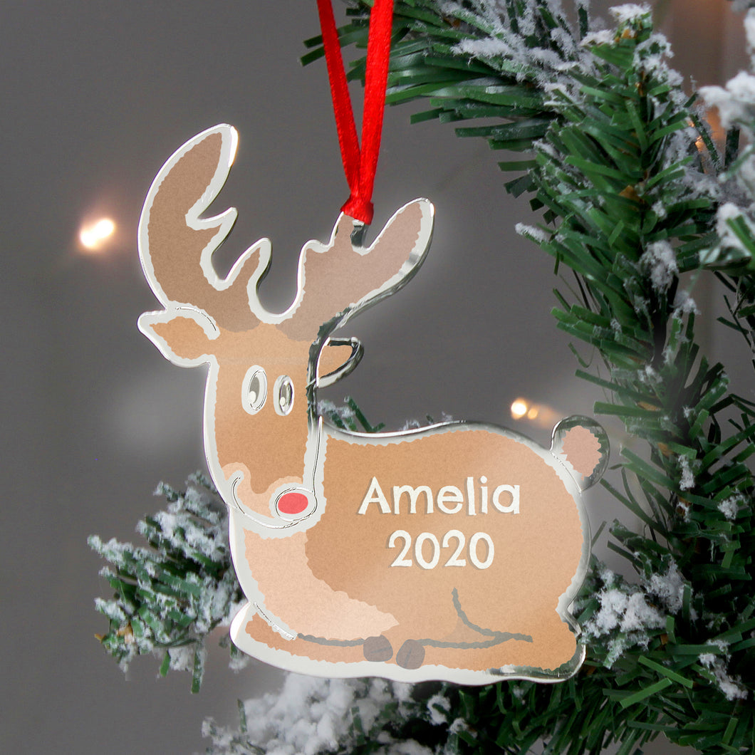 Personalised Rudolph The Red Nosed Reindeer Metal Decoration