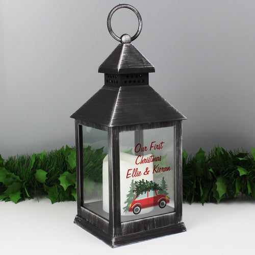 Personalised 'Driving Home For Christmas' Rustic Black Lantern