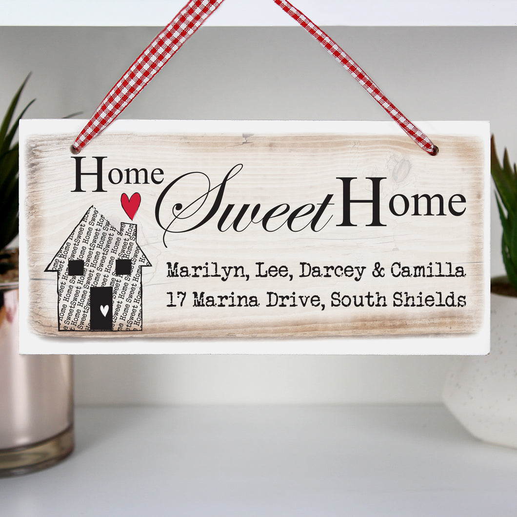 Personalised Home Sweet Home Wooden Sign