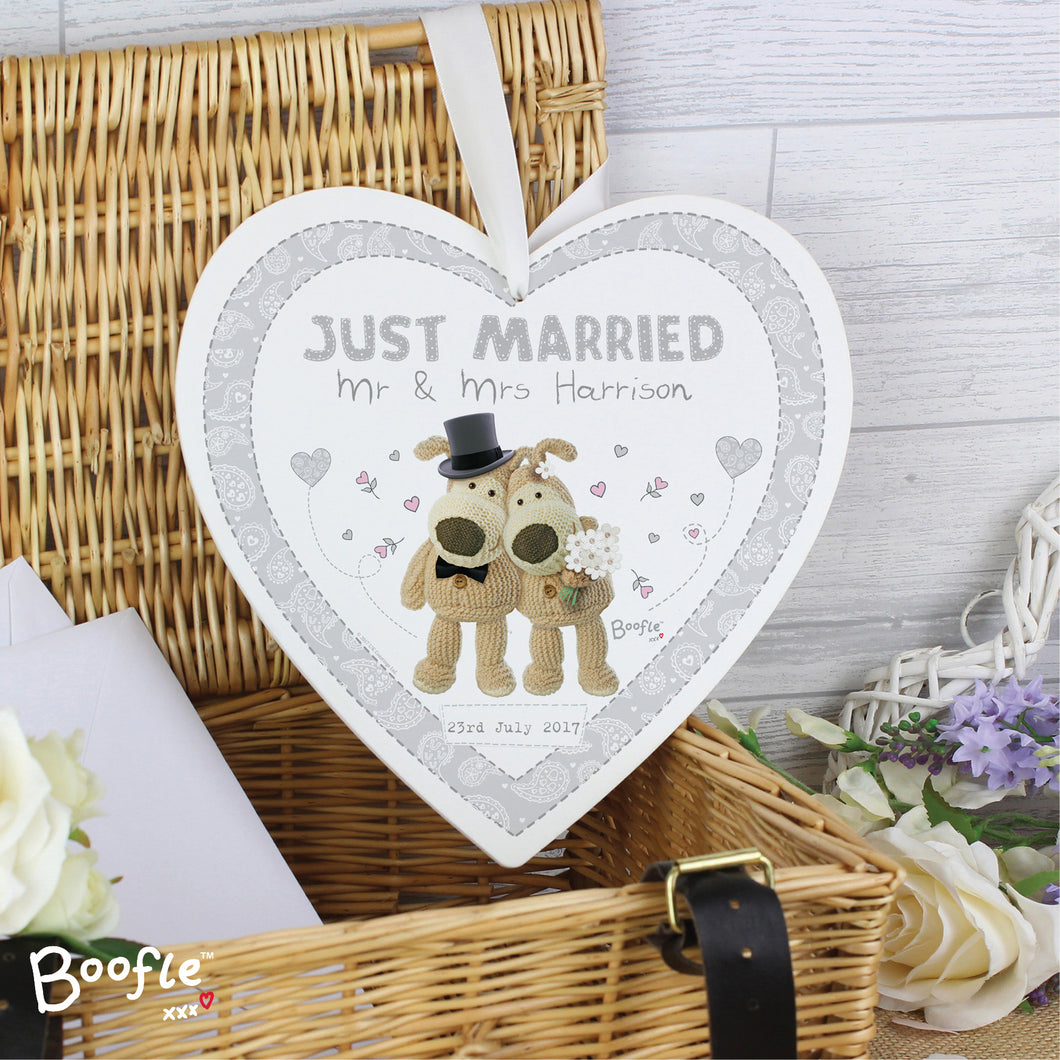 Personalised Boofle Wedding Large Wooden Heart Decoration