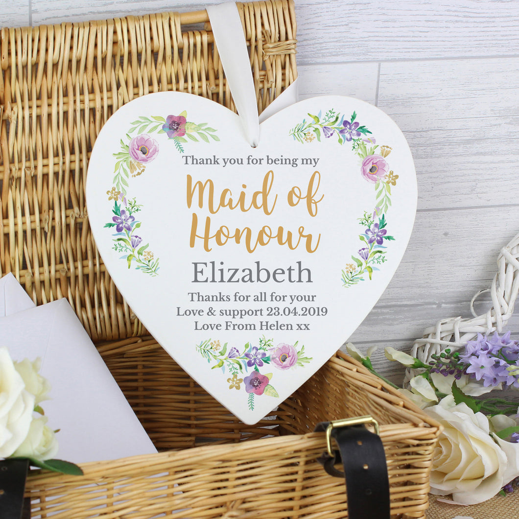 Personalised Maid of Honour 'Floral Watercolour Wedding' Large Wooden Heart Decoration