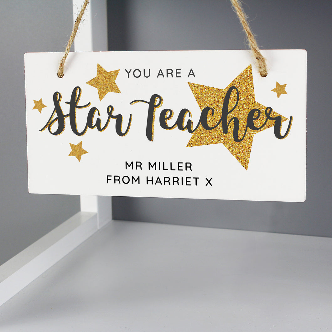 Personalised You Are A Star Teacher Wooden Sign