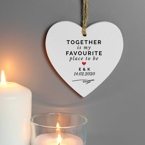 Personalised Together Is My Favorite Place Wooden Heart Decoration