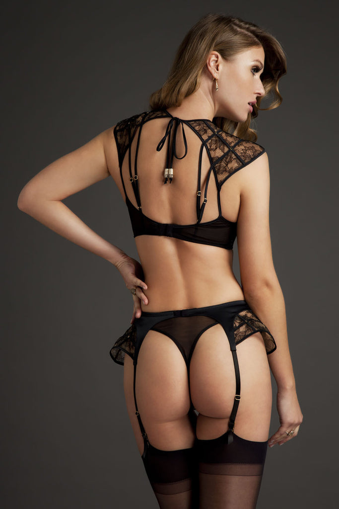 Luxury sheer black lace suspender in high end French lace and satin