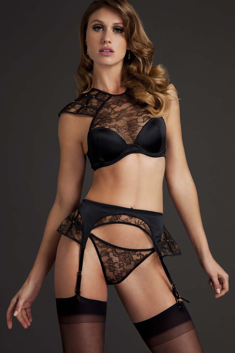 Luxury lingerie set with sheer black lace high neck bra, suspender and thong by Tatu Couture