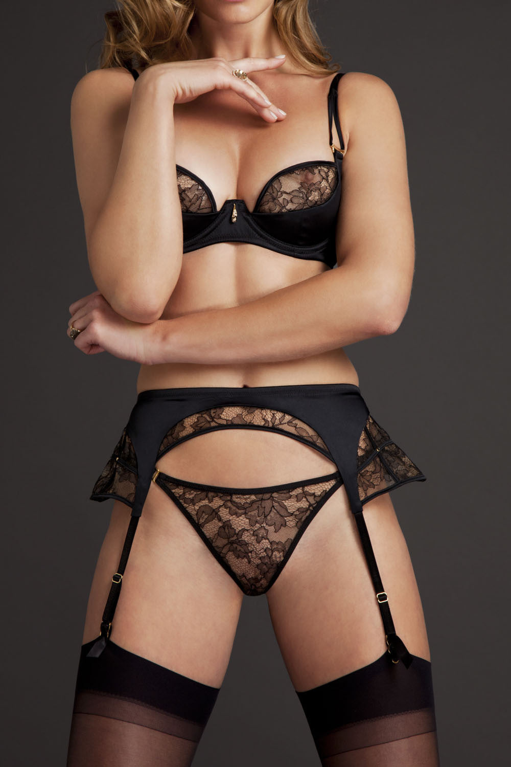 Luxury black lace suspender belt and lingerie set in high end sheer lace and black satin