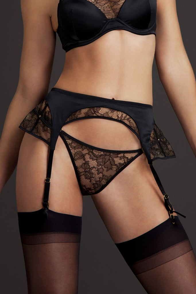 Xena Black Sheer Lace Suspender and matching luxury lingerie set