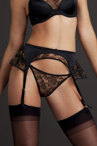 Tatu Couture Xena Suspender front view on  model