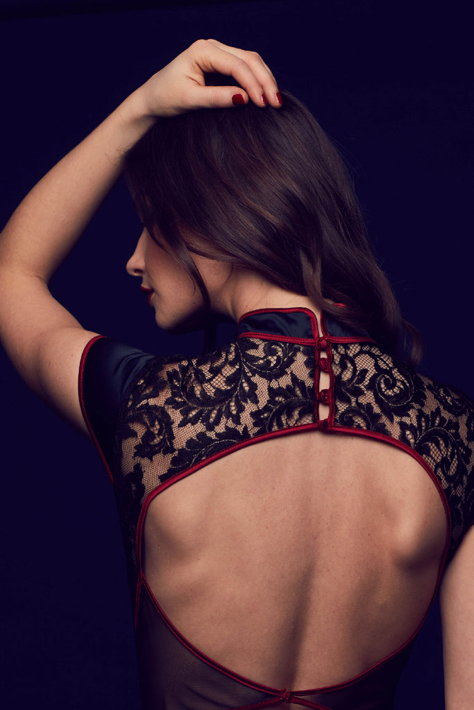 Sheer lace bodysuit from the Aiko luxury lingerie collection by Tatu Couture