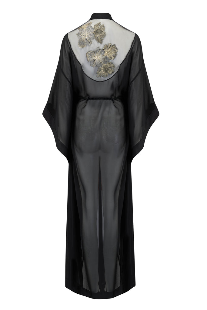 Ayako black kimono robe with sheer tulle back and gold metallic flowers