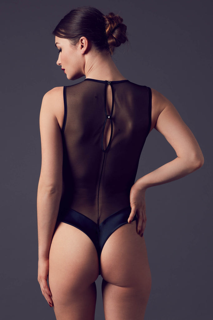 Ayako black sheer mesh bodysuit with thong back