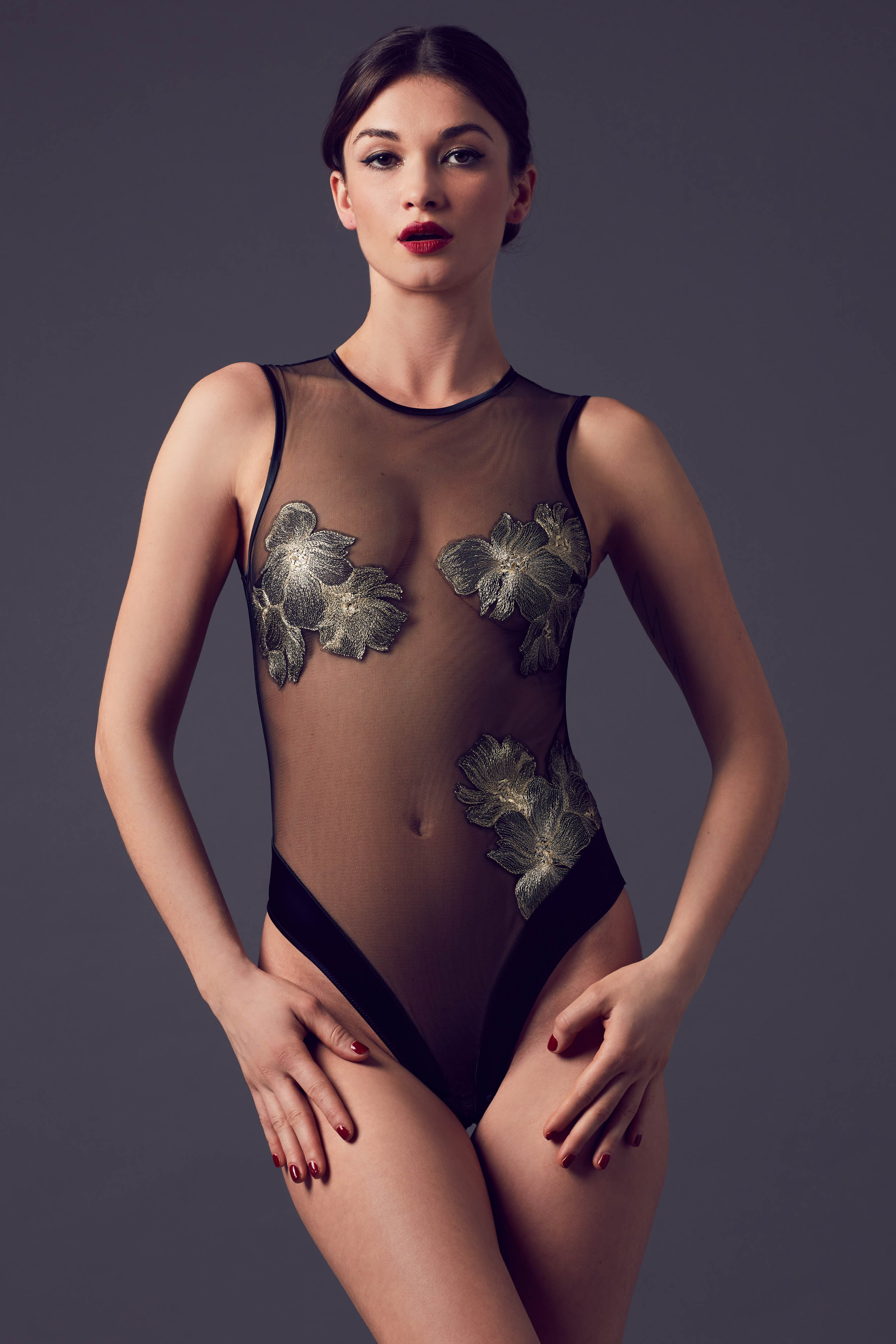Ayako luxury lingerie collection, black sheer bodysuit with gold embroidery