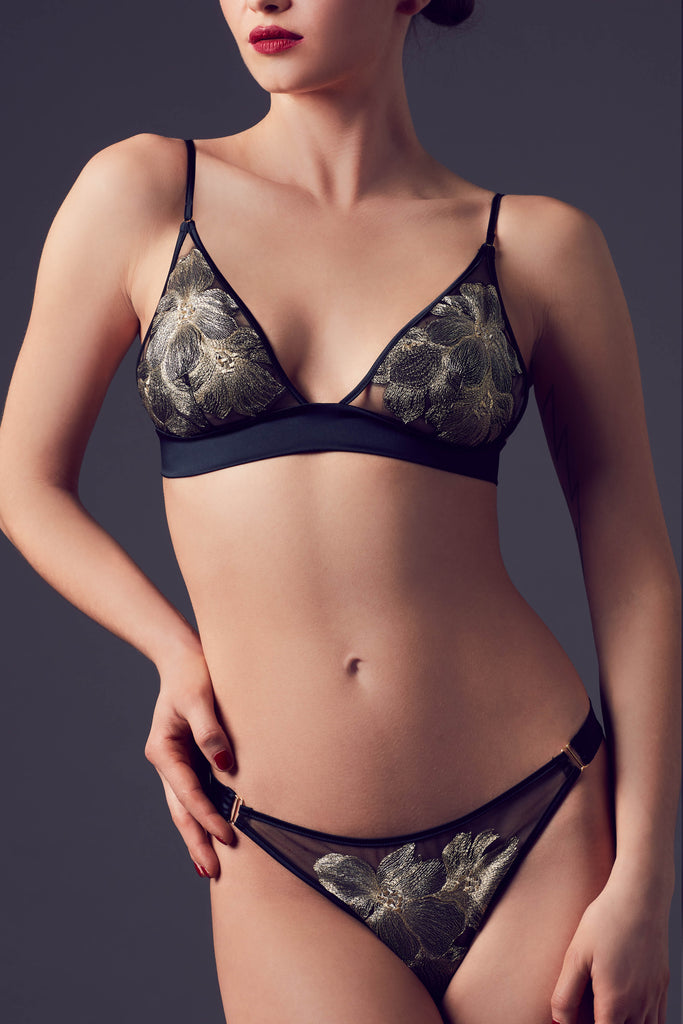 Ayako luxury gold bralette and thong with bespoke floral embroidery