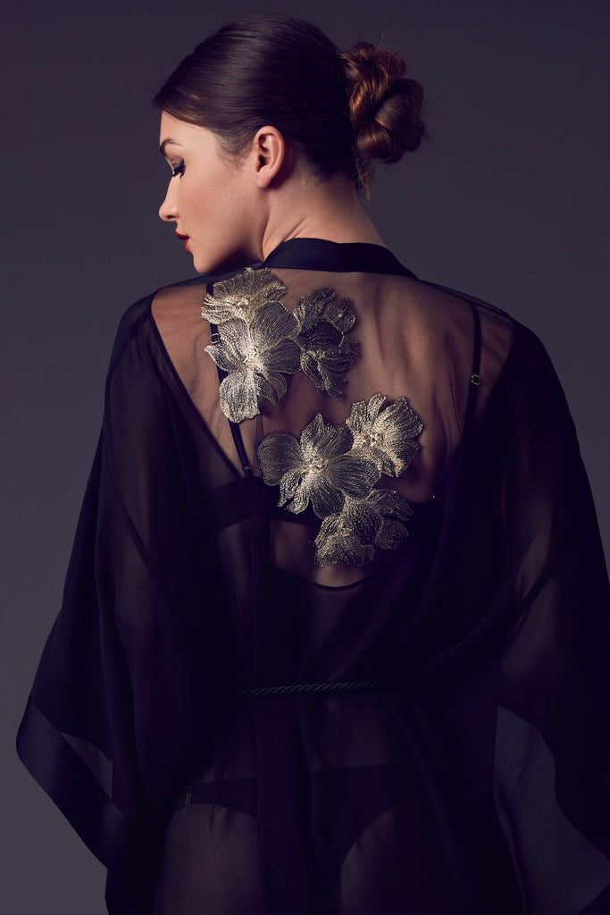 Ayako luxury black silk kimono with sheer tulle back and gold embroidered flowers