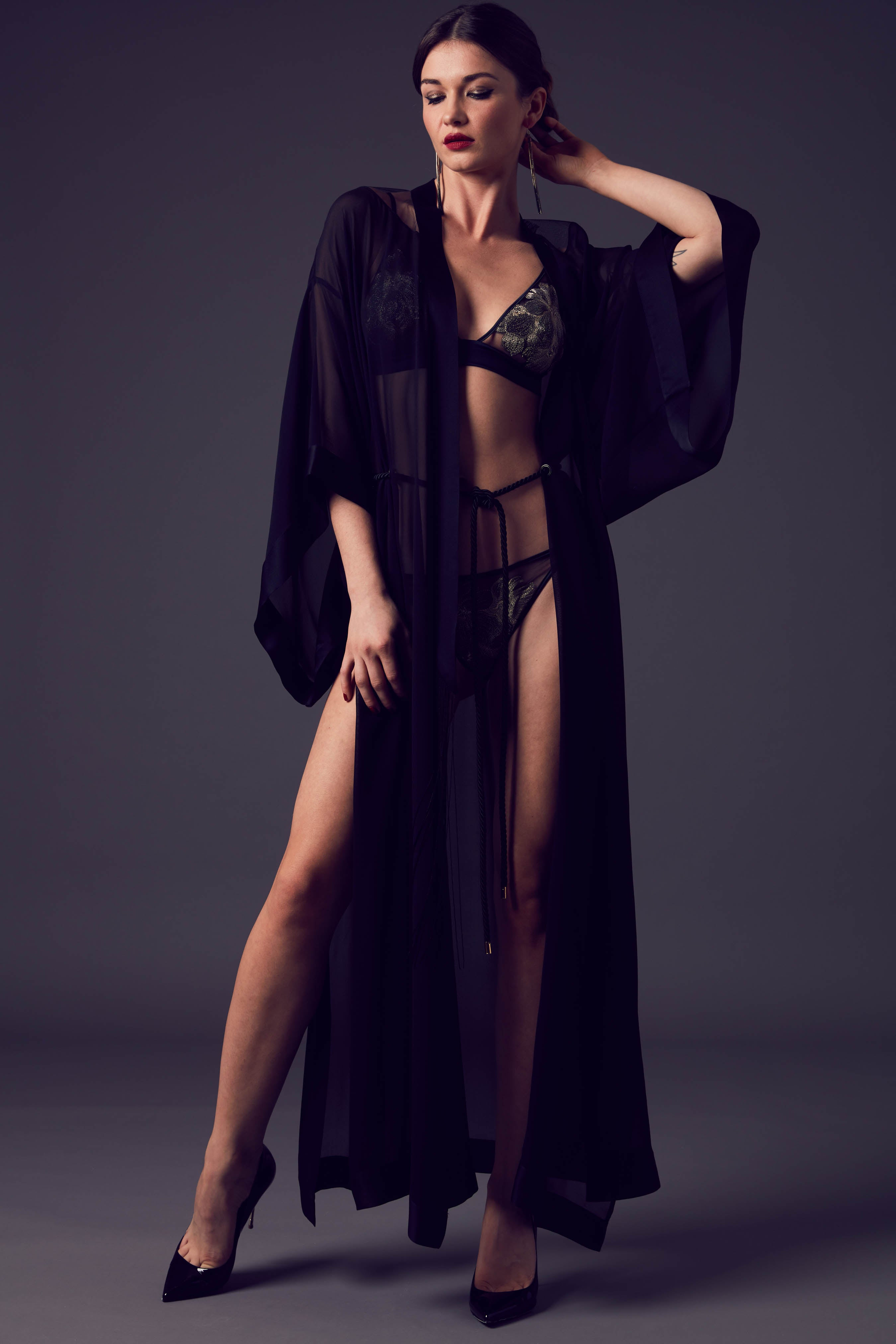 Ayako luxury black sheer kimono with rope tie belt and matching gold lingerie