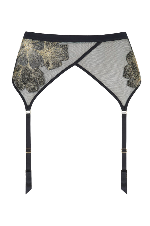 Ayako Sheer Black suspender belt | Luxury Lingerie by Tatu Couture