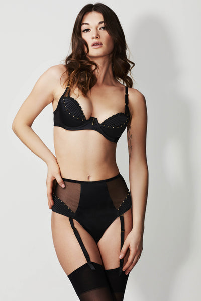 Babooshka High Waisted Thong with detachable suspenders