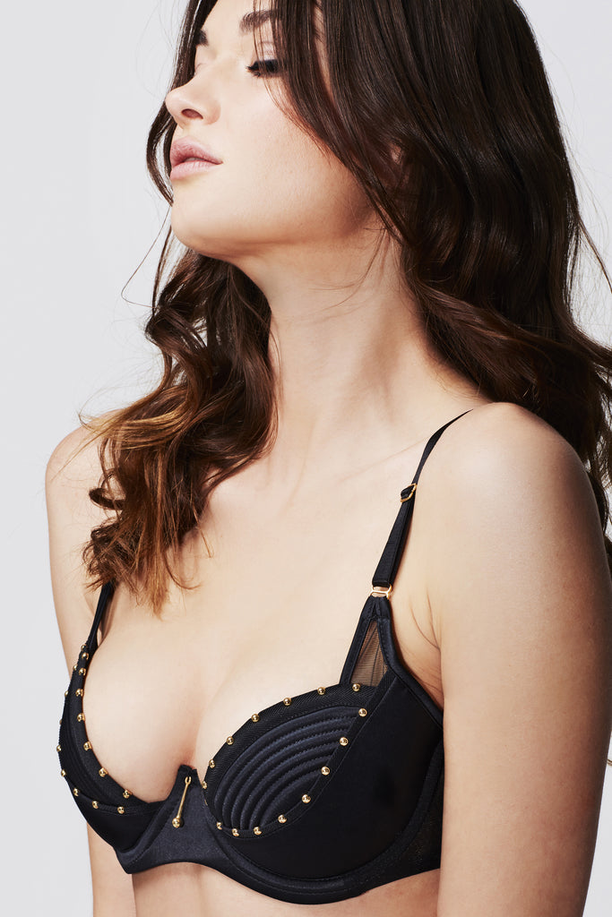 Babooshka luxury black satin bra featuring gold studding details