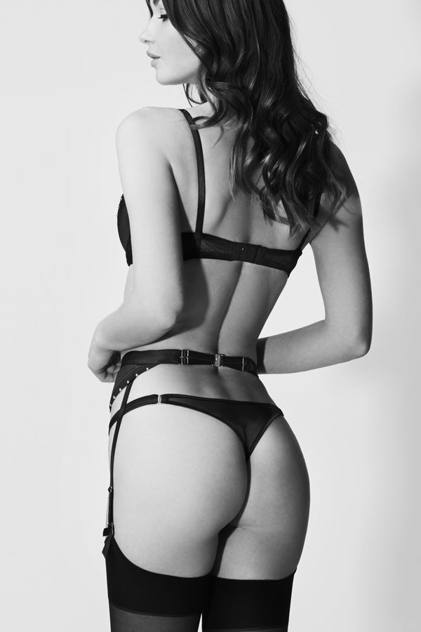 Babooshka luxury suspender belt in black satin