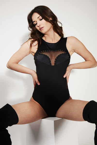 Babooshka black opaque bodysuit featuring gold studding detail