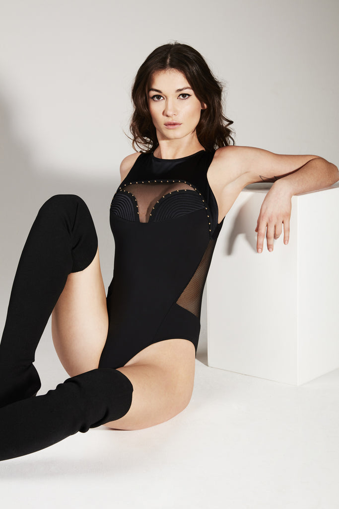 Babooshka luxury opaque bodysuit featuring stretch satin quilting detail