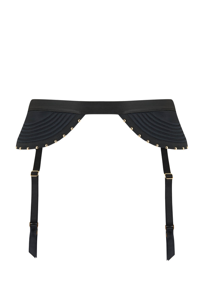 Babooshka  black satin garter belt with gold studding detail