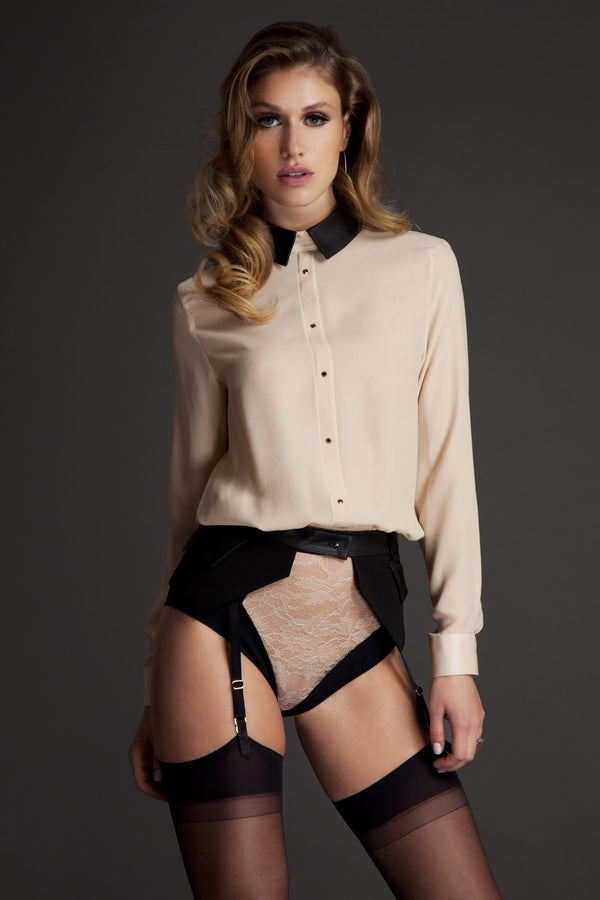 Lula Blush cream silk blouse bodysuit worn with Talia suspender belt