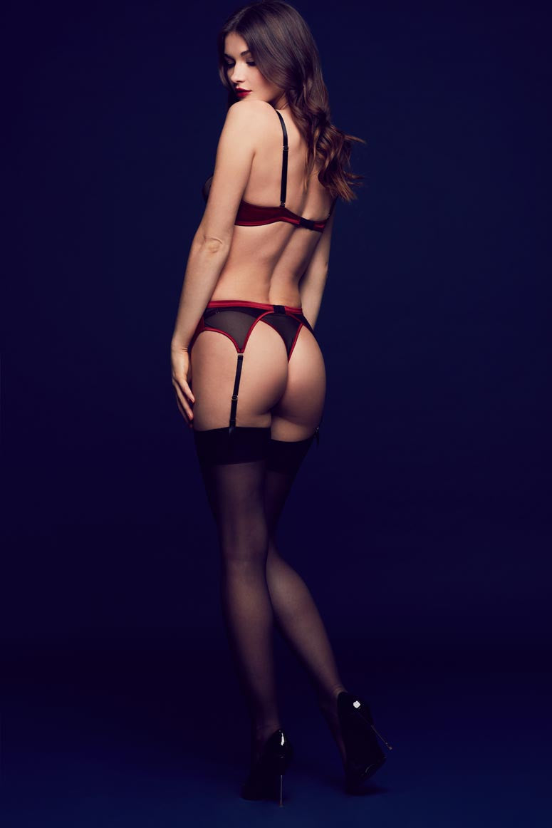 Odette high end seductive lingerie in red satin and sheer black lace with peep bra, thong and suspender