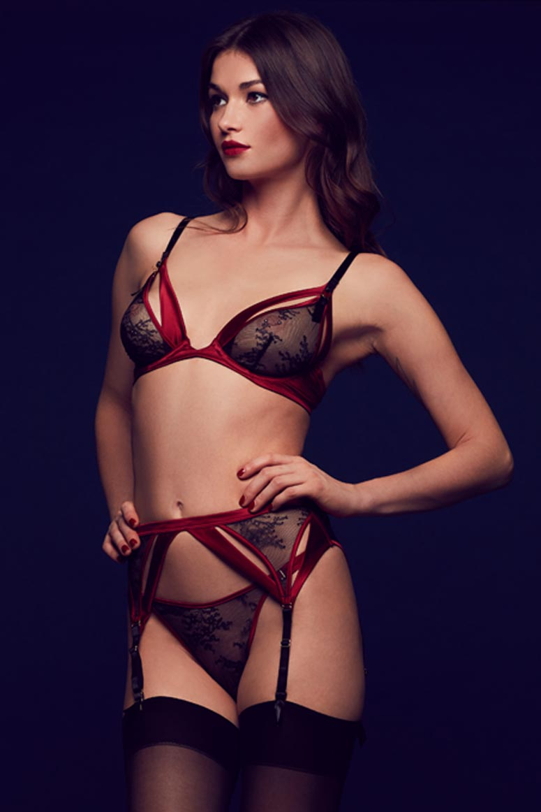 Tatu Couture Odette luxury boudoir lingerie in sheer black lace and red satin with garter belt and thong