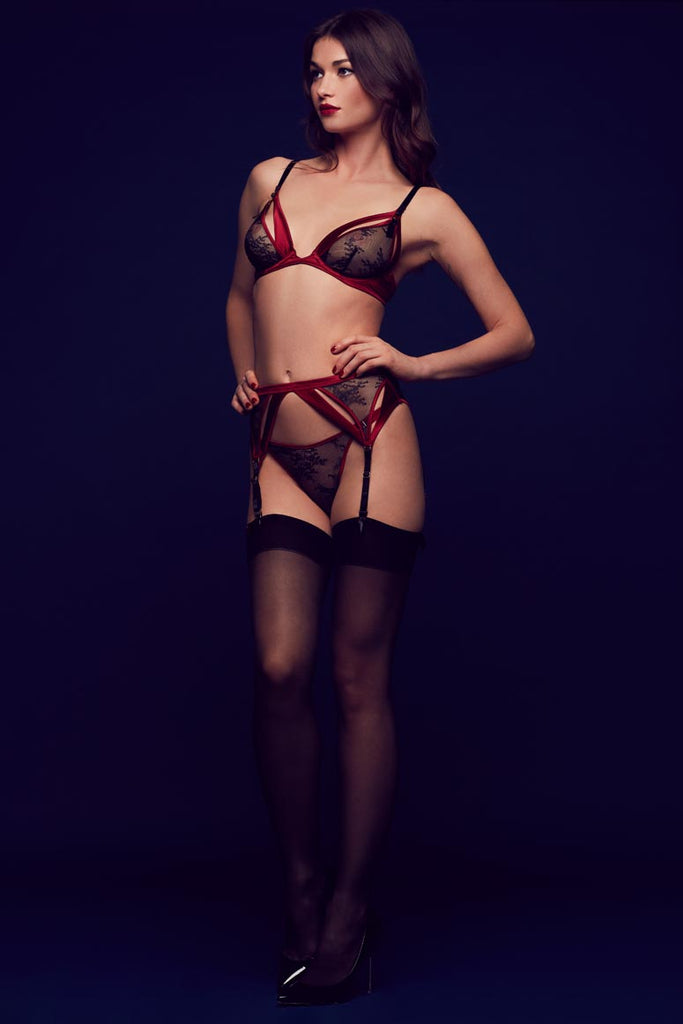 Luxury boudoir lingerie with ouvert bra, suspender and thong in high end lace and deep red satin